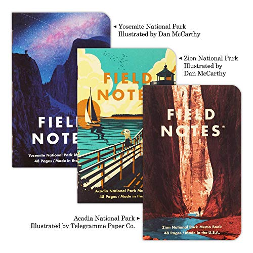 Field Notes: National Parks Series (Series A - Yosemite, Acadia, Zion) - Graph Paper Memo Book 3-Pack - 3.5 x 5.5 Inch