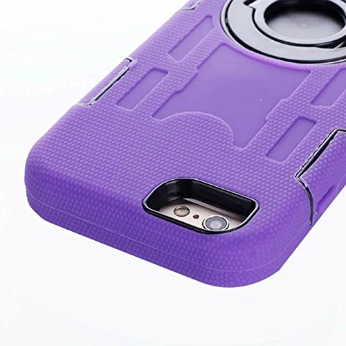 "Iphone 6 Coque,Iphone 6S 4.7 ""Coque,Lantier 3 en 1 en caoutchouc dur + Hybrid PC Combo robuste avec Annulaire Béquille Protect pour Apple Iphone 6/6S 4.7"" Purple"