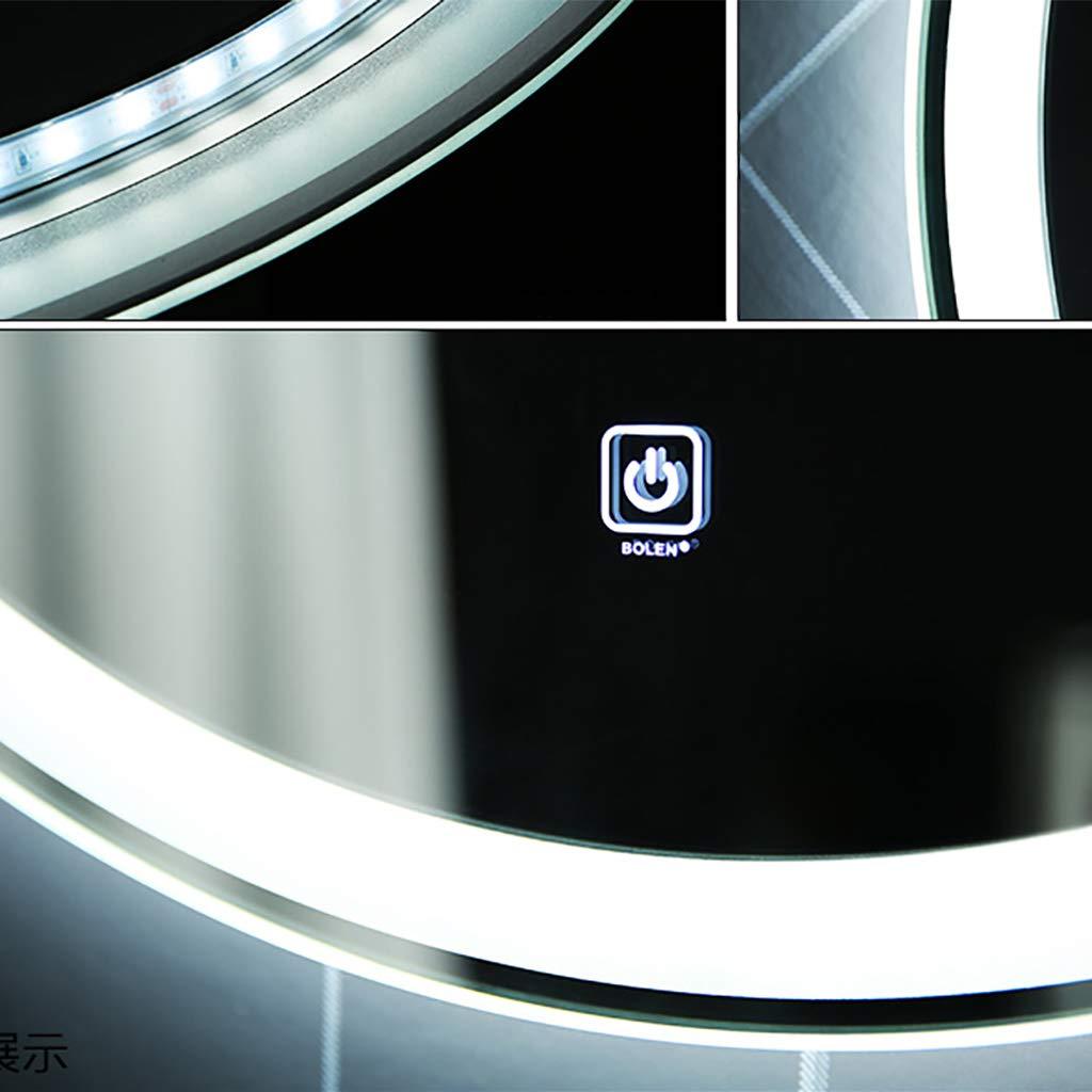 Led Iluminado para ba/ño Espejo Redondo para Sala de Estar Pared HD Impermeable Plateado Inteligente Led Interruptor t/áctil Blanco//Luz c/álida 50 cm 60 cm 80 cm 70 cm