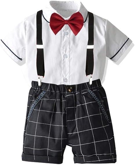 AEPEDC Conjunto de Ropa de Moda (Camisa Blanca + Lazo + Pantalones Cortos Negros + cinturón) Traje de Caballero de los niños para niños Verano Cuatro Piezas: Amazon.es: Deportes y aire libre