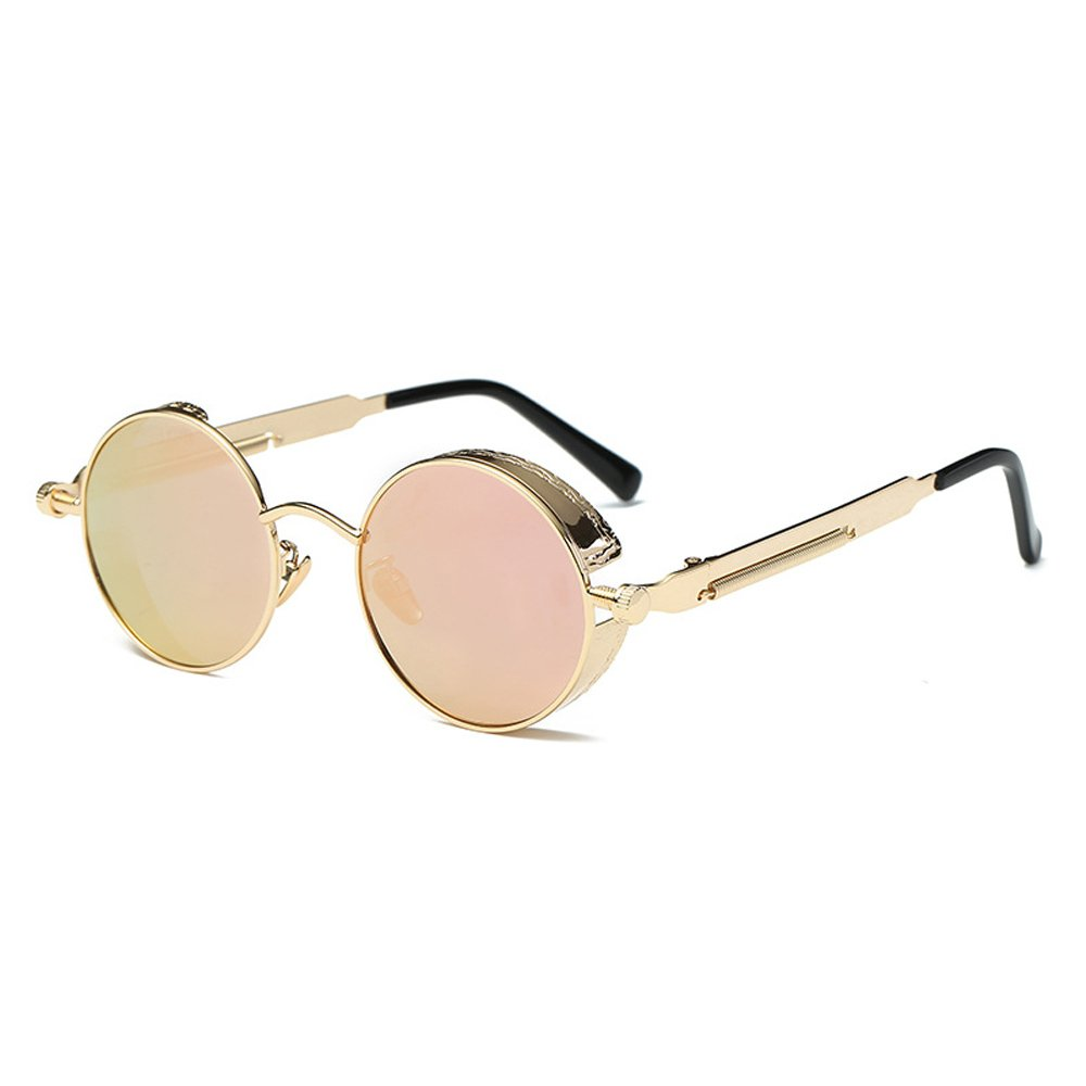 AMZTM Small Round Metal Frame Flash Mirrored Reflective Lens Polarized Women Sunglasses (Golden Frame and Pink Lens, 48)