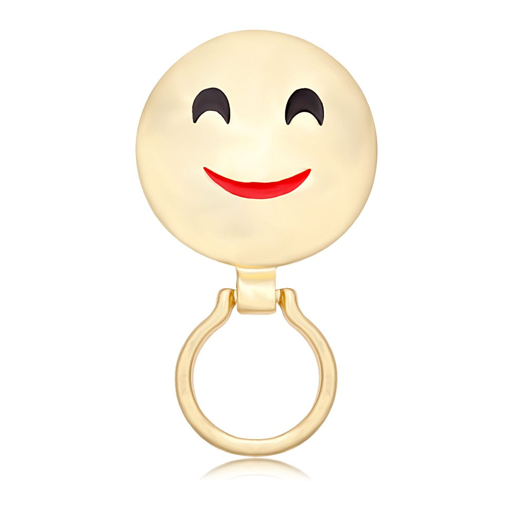 NOUMANDA Simple Lovely Happy Smile Face Magnetic Eyeglass Pin Brooch Glasses Spec Spectacles Sunglasses Clip Holder (Gold)