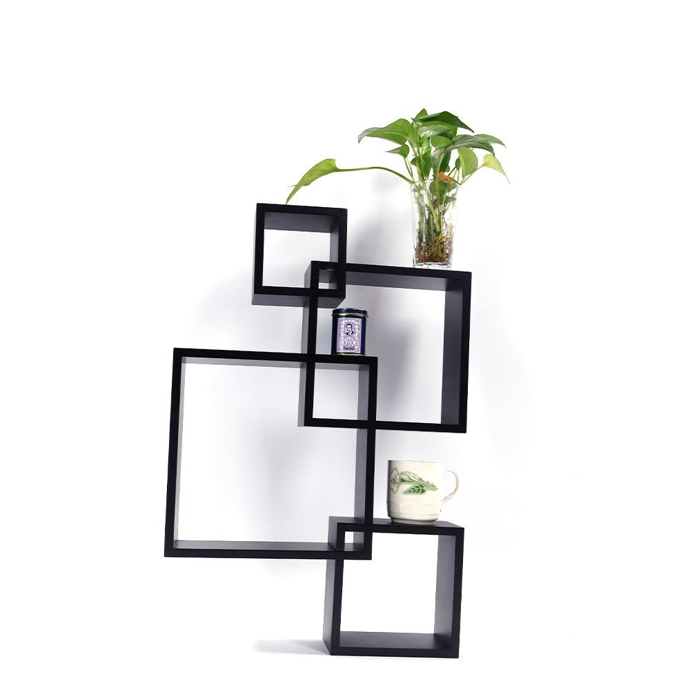 4 Cubes Intersecting Boxes Decor Wall Furniture Black