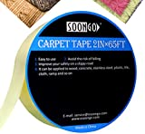 Double Sided Carpet Tape Non Skid Heavy Duty Multipurpose for Area Rugs Mats Pads Runners Indoor Outdoor Work On Hardwood Floor Tile Stairs No Residue 65ft Roll by SOONGO