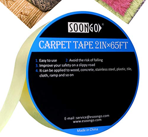Double Sided Carpet Tape Non Skid Heavy Duty Multipurpose for Area Rugs Mats Pads Runners Indoor Outdoor Work On Hardwood Floor Tile Stairs No Residue 65ft Roll by SOONGO by SOON GO