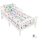 YourEcoFamily Cotton Fitted Crib Sheet and Toddler Pillowcase Set - Certified Organic Cotton – For Your Baby, Toddler Boy or Girl (Crib Sheet and Pillowcase Set - Animals)