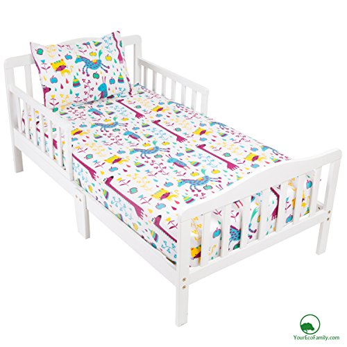 YourEcoFamily Cotton Fitted Crib Sheet and Toddler Pillowcase Set - Certified Organic Cotton – For Your Baby, Toddler Boy or Girl (Crib Sheet and Pillowcase Set - Animals) (Toddler Organic Bed Set)
