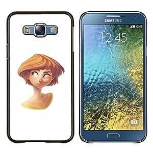 TECHCASE---Cubierta de la caja de protección para la piel dura ** Samsung Galaxy E7 E700 ** --carácter blanco niños pelirroja de los niños