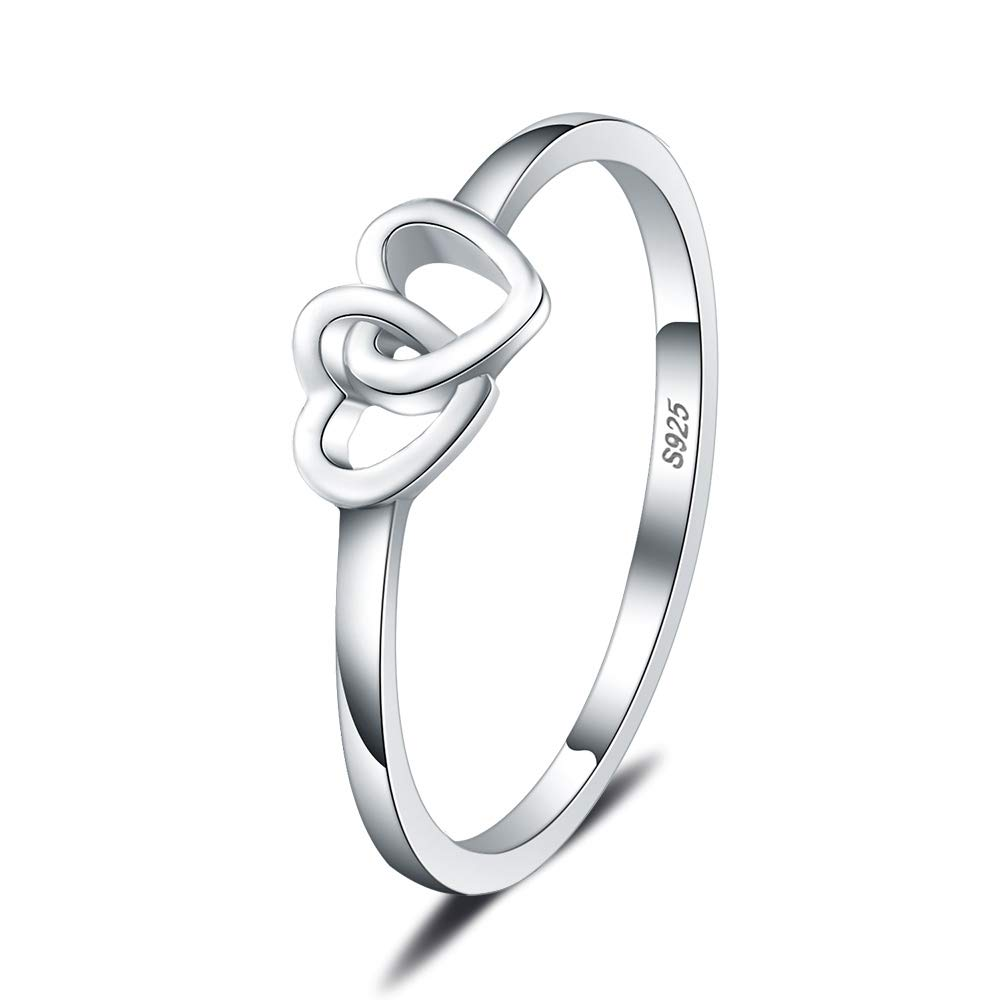 LGSY Double Heart Rings S925 Sterling Silver Thin Rings Wedding//Engagement//Promise Rings for Fashion Jewelry