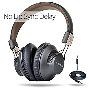 avantree wireless bluetooth over ear headphones with mic low latency fast audio. Black Bedroom Furniture Sets. Home Design Ideas