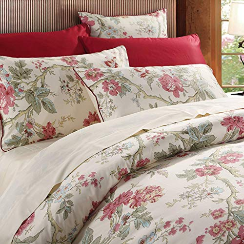 Brandream Duvet Cover Queen Size Luxury Bedding Set Floral Duvet Quilt Cover Set Printed Chinoiserie Peony Asian Style Home Collections 800TC Egyptian Cotton, 3 Pieces