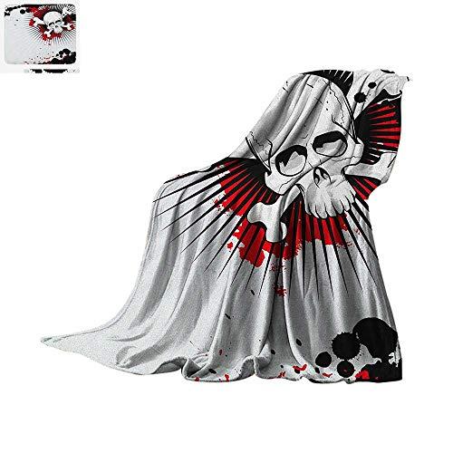 (Halloween Throw Blanket Skull with Crossed Bones Over Grunge Background Evil Scary Horror Graphic Print Artwork Image 60