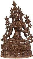 Goddess White Tara Who Blesses Long Life to Her Devotees - Brass Statue