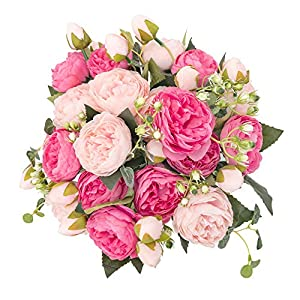 crazylove Silk Peony Artificial Flowers Bouquet Small Pieces Design for Home Wedding Decoration Indoor (Pack 4,Pink Red)