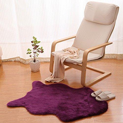 Yazi Kunstfell Teppich Schaffell Uni Weich, waschbar, rutschfeste Matten Teppich Violett 75x 106cm