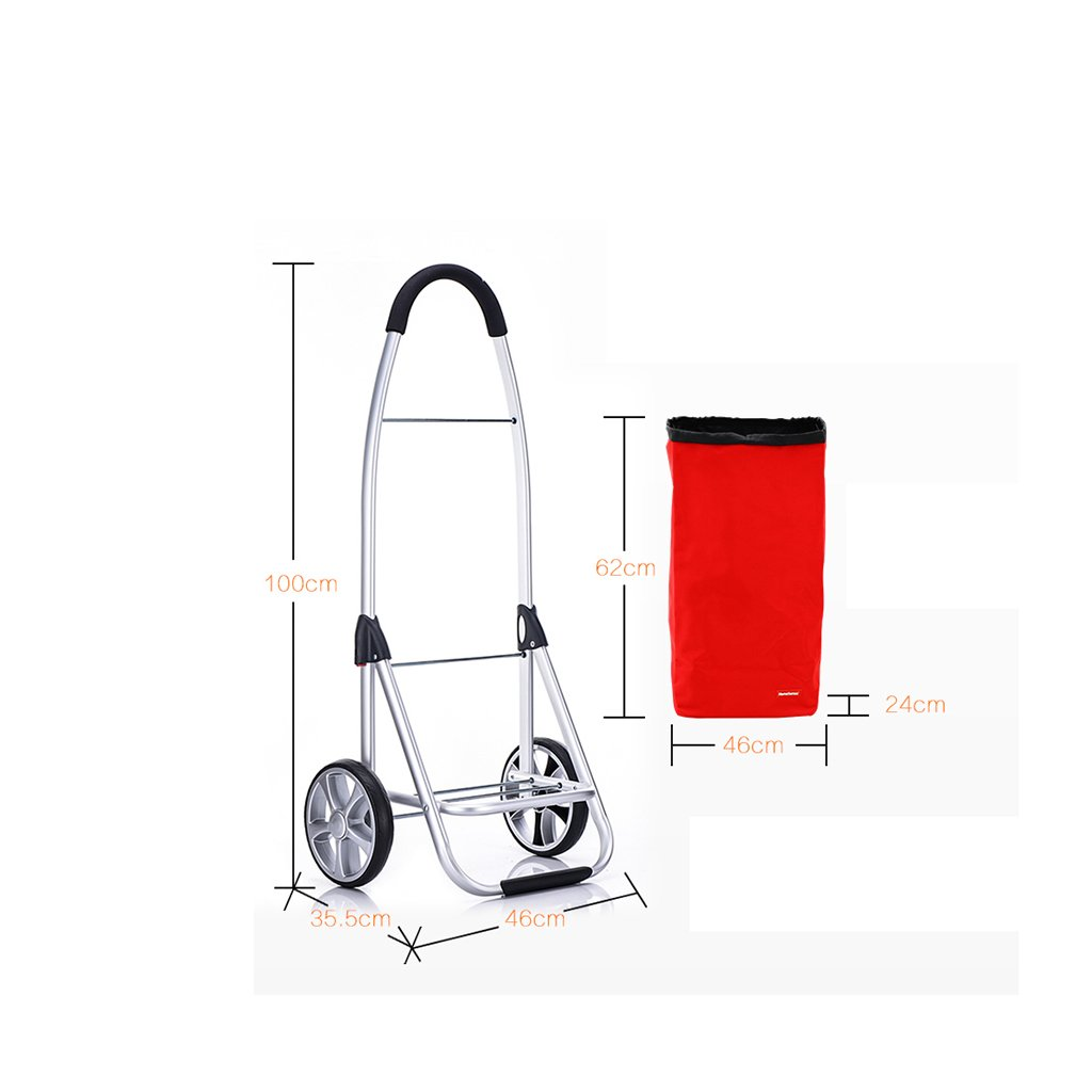 RHHWJJXB Aluminum Shopping Cart Shopping Cart Climbing Car Stroller Portable Small Cart Folding Trolley Car (Color : E) by RHHWJJXB (Image #2)