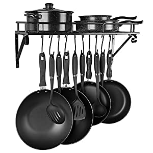 Kitchen Wall Mounted Pot Pan Rack CookwareWith 10 Hooks-Large Capacity(Black)