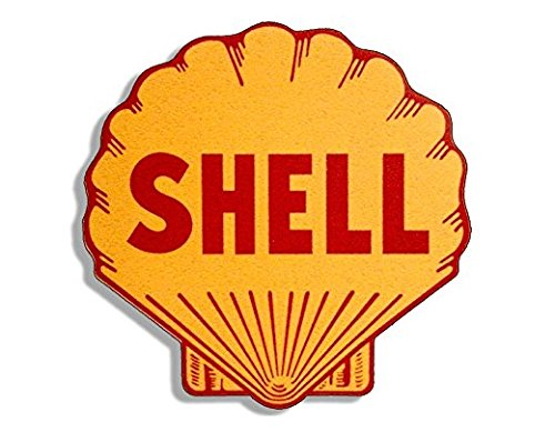 - Vintage SHELL Gas Station Logo Shaped Sticker (motorcycle car gasoline)- Sticker Graphic Decal