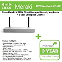 Cisco Meraki MX65W Small Branch Wireless Appliance, 250Mbps FW, 12xGbE Ports - Includes 3 Years Enterprise License