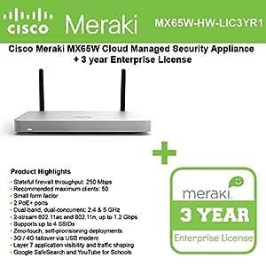 Amazon com: Cisco Meraki MX65W Small Branch Wireless