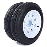 MILLION PARTS Two 12' Trailer Tires Rims 4.8-12-4PR-5LUG P811 Wheel White Spoke