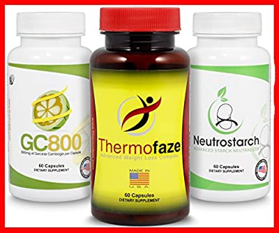BEST Fat Burner Combo Pack | Natural Fat Burner, Appetite Suppressant, Metabolism Booster And Energy Enchancer For Women And Men | Patented Starch & Carb Blocker (Thermofaze Bundle - 2 Month Supply)
