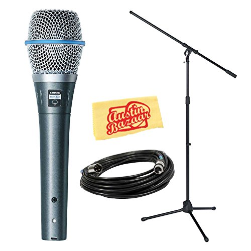 Shure Beta 87A Professional Vocal Microphone Bundle with Boom Stand and 20-Foot XLR Cable by Shure