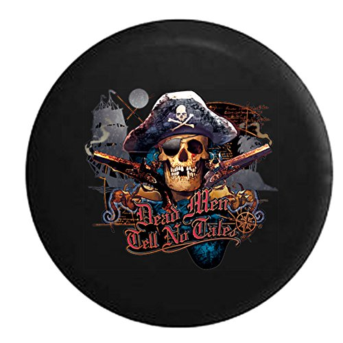 - Dead Men Tell No Tales Pirate Skull & Crossbones Sea Compass Spare Tire Cover Black 35 in