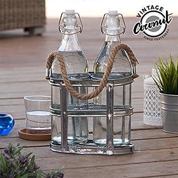 qtimber Botellas de Vidrio con Portabotellas Vintage Coconut 34 x 11 x 20 cm bicchiere con