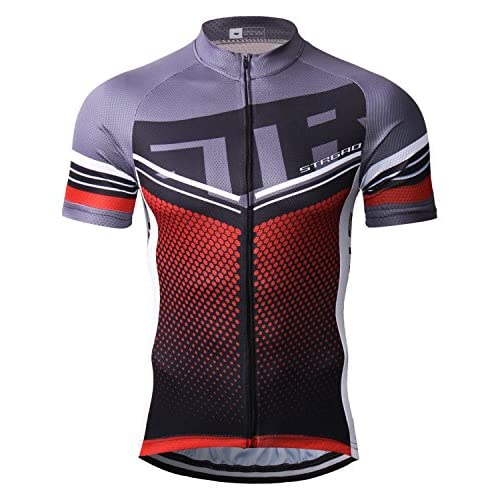 STRGAO Hommes Breathable Cycling Manches Courtes Cycling Jersey Vêtements Sports et Loisirs Maillot de Cyclisme Manches Courtes 5XL