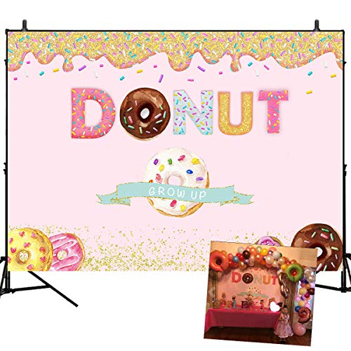 Mehofoto Donut Grow Up Backdrop Donut Birthday Party Decor Supplies Sweet Girl Birthday Baby Shower Background 7x5ft Cake Table Vinyl Photo Studio Props