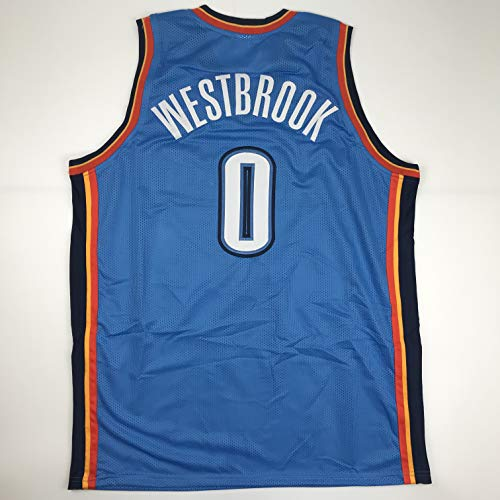 (Unsigned Russell Westbrook Oklahoma City Blue Custom Stitched Basketball Jersey Size Men's XL New No Brands/Logos )