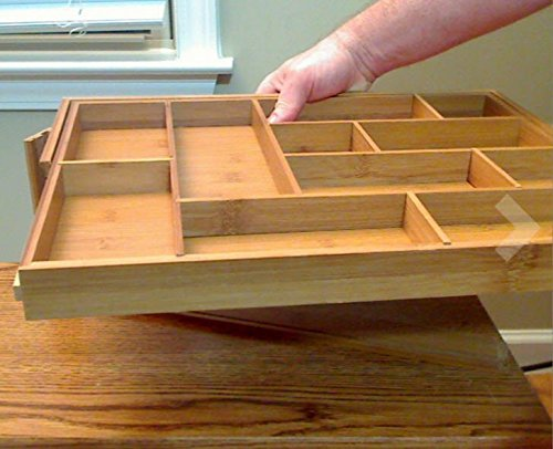Silverware Kitchen Drawer Organizer Expandable Bamboo