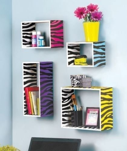 Moon_Daughter Colorful Animal Print Zebra Storage Cube Wild Wooden Wall Shelf Display Decor