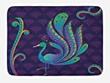 WCMBY Ethnic Bath Mat, Peacock Bird with Oriental Feather Before Eastern Spiritual Animal Image, Plush Bathroom Decor Mat with Non Slip Backing, 23.6W X 15.7 W Inches, Purple Green Blue