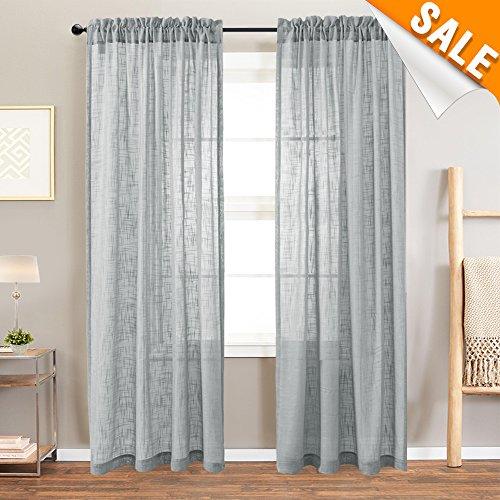 Faux Linen Textured Grey Sheer Curtains for Living Room, Open Weave Sheer Voile Curtains, Rod Pocket Curtain Panels, One Pair, 52