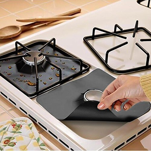"""Gas Stove Burner Covers,Thin Reusable Non-Stick Easy to Clean Gas Range Protectors,Heat Safe Stovetop Burner Protectors Liners Stove Top Covers-Keep Your Stovetop Cleaner by Debolic 6 pcs 10.6""""x 10.6"""""""