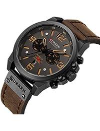 Military Watches for Men Men's Leather Strap Analog Quartz Wristwatch Fashion Sport Watch for Men Chronograph Date Brown Black CAOWTAN (Brown Black)