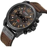 [Patrocinado] CAOWTAN - Reloj de pulsera analógico de cuarzo para hombre, correa de piel, cronógrafo, fecha, color marrón