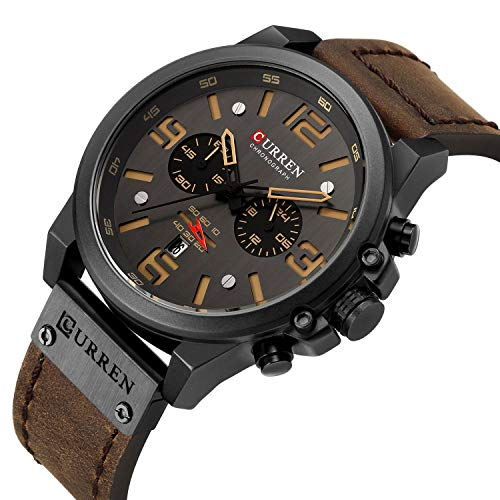 Military Watches for Men Men's Leather Strap Analog Quartz Wristwatch Fashion Sport Watch for Men Chronograph Date Brown Black CAOWTAN (Brown Black)