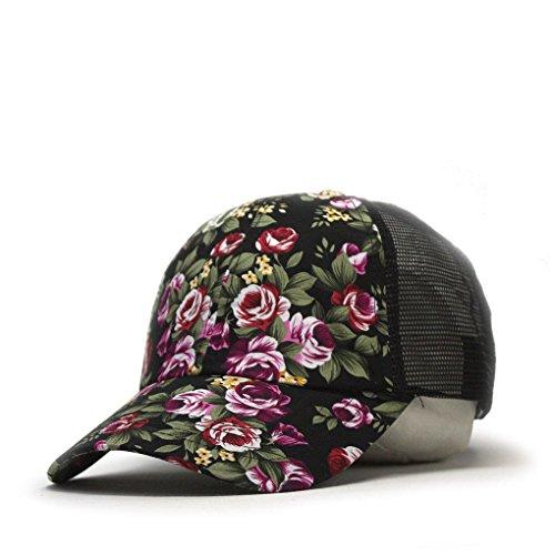 Vintage Washed Cotton Soft Mesh Adjustable Baseball Cap (Floral Black)