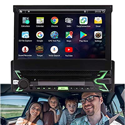 Android 9.0 Pie Single Din Car Stereo 7 Inch Flip Out Capacitive Touch Screen Support Bluetooth WiFi GPS Navigation Mirror Link AM/FM Car Radio OBD USB SD AUX Cam-in with Backup Camera and Microphone: Car Electronics