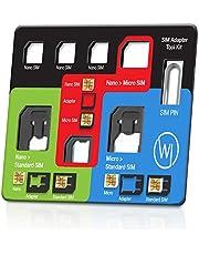 Wicked Chili 8in1 Multi Sim-Card Tool voor alle simkaarten, met 3 SIM-adapters, opbergvak voor 3 nano en 1 micro SIM-kaart en SIM-naald, reiskit ter grootte van een creditcard