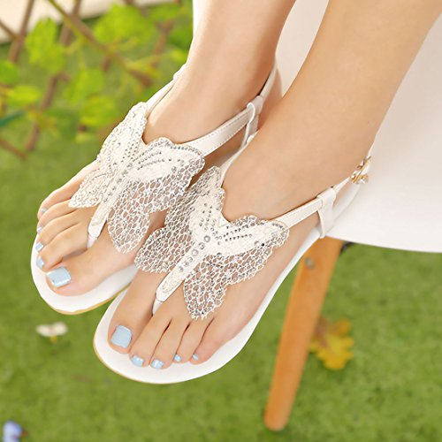 Femmes T Blanc Talons avec en Lanières Bout Papillon Ouvert Sandales Confortables à UH en Plates de Boucles 1HC5qaxw