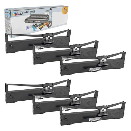 LD Compatible Ribbon Cartridge Replacement for Epson S015337 (Black, 6-Pack)
