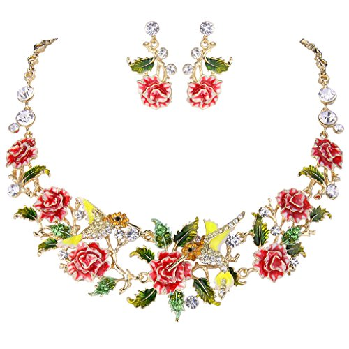 EVER FAITH Crystal Enamel Hummingbird Hibiscus Flower Leaf Necklace Earrings Set Red Gold-Tone