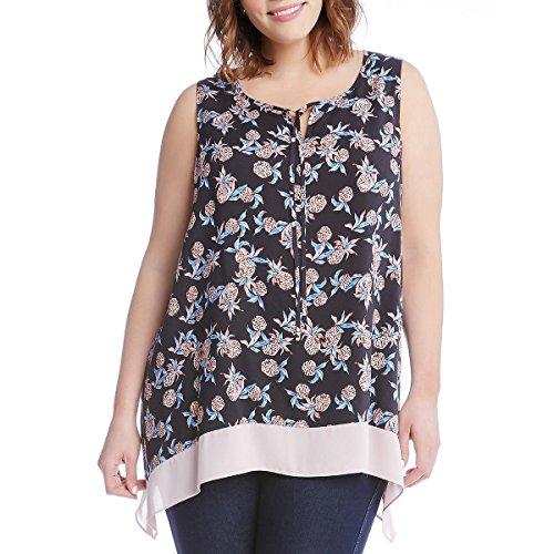 Karen Kane Womens Plus Printed Sleeveless Blouse Black 2X