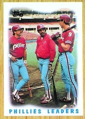 1987 Topps #481 Phillies Team (Glenn Wilson / Juan Samuel) Philadelphia Phillies (Team Leaders) (Baseball Cards)
