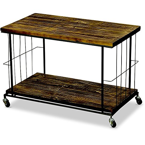 Whole House Worlds The Urban Chic TV Multi-Media Cart Stand with 2 Shelves, Castor Wheels, Black Metal and Sustainable Wood Shelves, 30 L x 17 W x 20 ½ H inches, By WHW