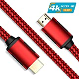 HDMI Cable, Fisiy 4K HDMI 2.0 High Speed 6.6FT Nylon Braided Cord Gold Plated Connectors - Video 4K Ultra HD 2160p, 18Gbps, 3D, ARC, Ethernet - Compatible with Xbox Playstation PS3 PS4 Apple TV - Red